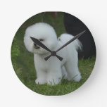 Adorable Bichon Round Clock
