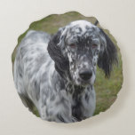 Adorable Black and White English Setter Round Pillow