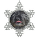 Adorable Cairn Terrier Snowflake Pewter Christmas Ornament