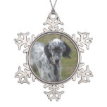 Beautiful English Setter Dog Snowflake Pewter Christmas Ornament