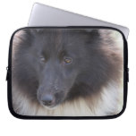 Black and White Sheltie Computer Sleeve