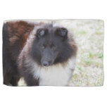 Black and White Sheltie Hand Towel