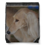 Blonde Saluki Drawstring Bag