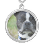 Classic Boston Terrier Dog Silver Plated Necklace