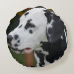 Dalmatian with Spots Round Pillow