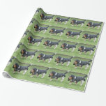 Dark Basset Hound Dog Wrapping Paper