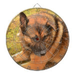 German Shepherd with One Floppy Ear Dartboard With Darts