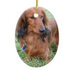 Long Hair Dachshund Ornament