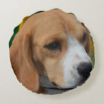 Lovable Beagle Round Pillow