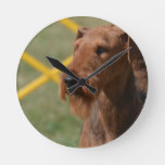 Really Cute Airedale Terrier Round Clock