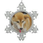 Shiba Inu Dog Snowflake Pewter Christmas Ornament