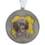 Sweet Tiny Brown Poodle Pewter Ornament